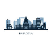 Pasadena skyline, monochrome silhouette. Vector illustration.