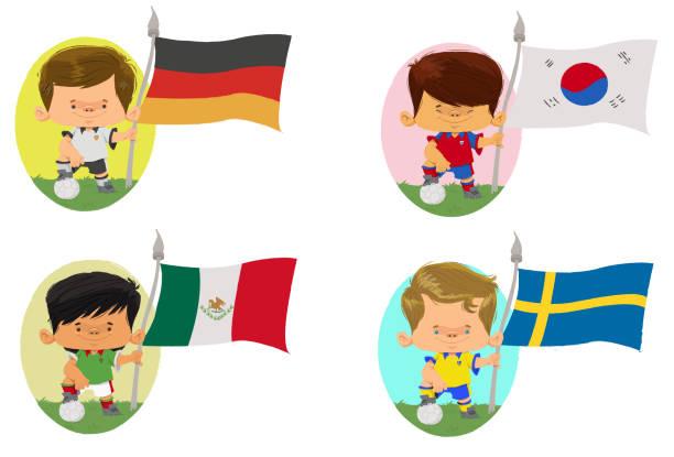 Países do futebol Jogadores de futebol, com bola no pé e segurando bandeira que representa um país. futebol stock illustrations