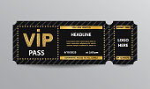 Stub black VIP admission ticket template with golden glittering VIP sign.