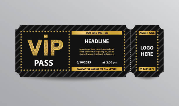 illustrations, cliparts, dessins animés et icônes de billet d'entrée vip pass - billet