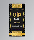 Black VIP pass admission flyer template with golden glittering stripe.