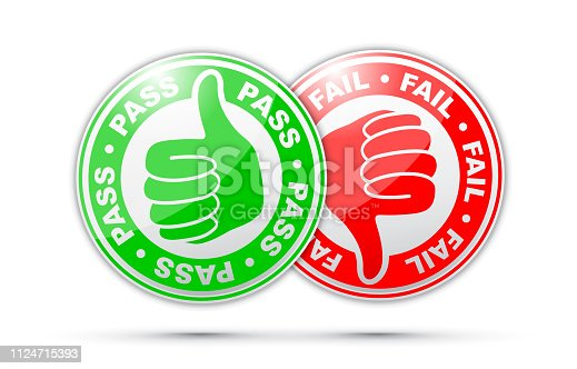 pass and fail thumbs up and down icon
