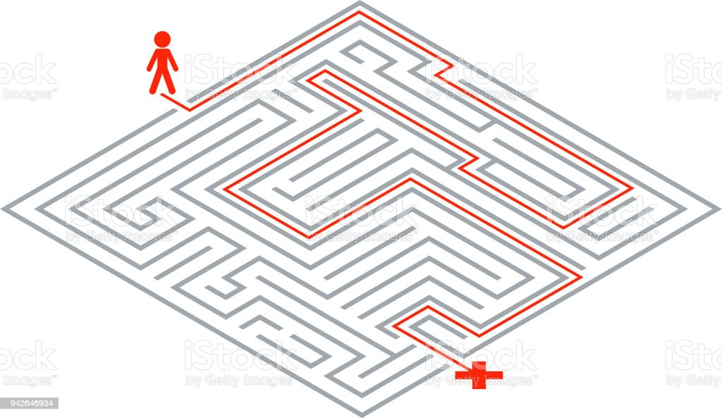 Pass Way Intricacy Labyrinth Isometric Maze 3d Design Template ...