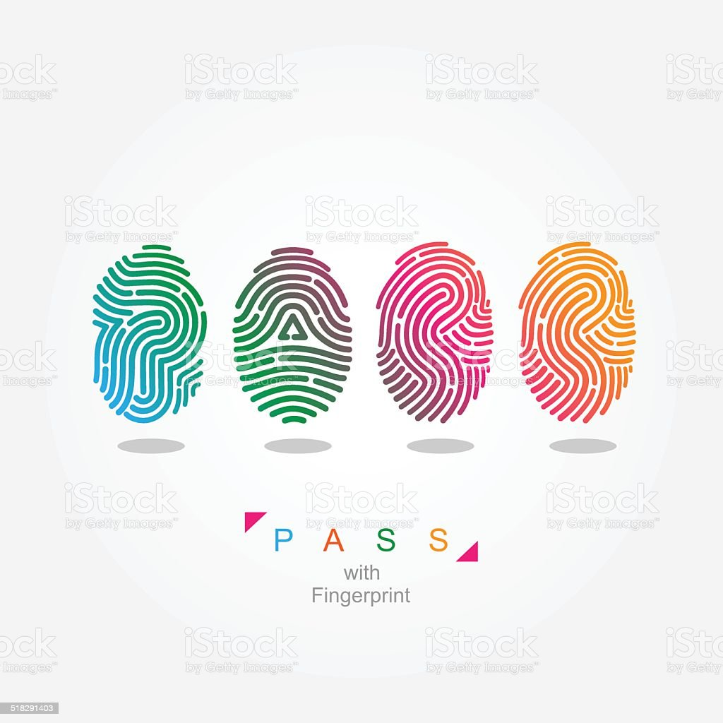 Pass with fingerprint. color vector illustration. vector art illustration