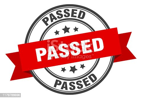 passed label. passed red band sign. passed