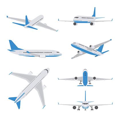 Airplane illustration isolated on white background