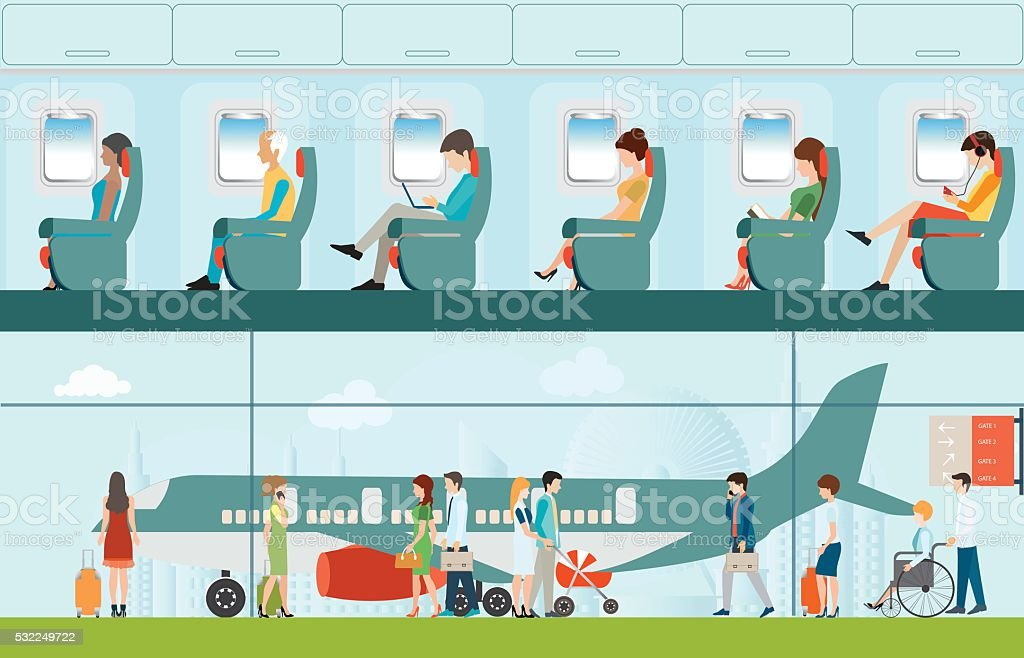 Passenger airline in airport terminal and Airline interior. vector art illustration