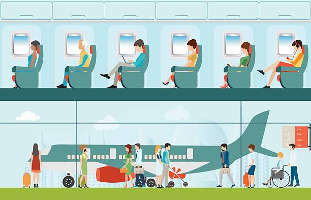 passagier-fluglinien im flughafen-terminal und fluggesellschaft innen. - fahrzeugsitz stock-grafiken, -clipart, -cartoons und -symbole
