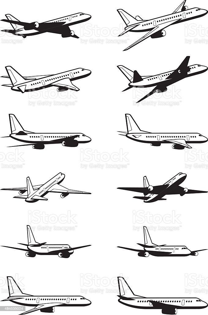Passenger airplane in perspective vector art illustration