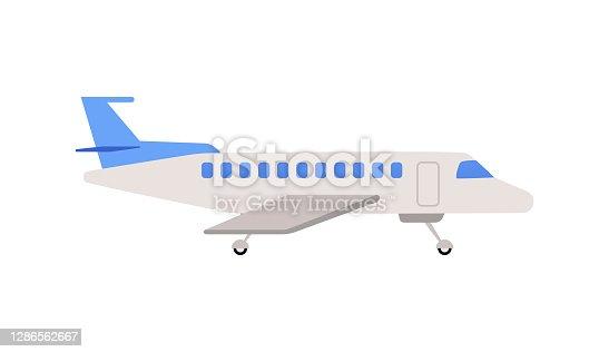 istock Passenger airplane or airbus cartoon icon, flat vector illustration isolated. 1286562667