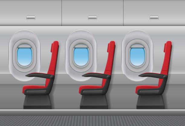 passagier flugzeug rote vektor interieur. innen kabine mit bullaugen und stühlen sitzen. vektor-illustration - fahrzeugsitz stock-grafiken, -clipart, -cartoons und -symbole
