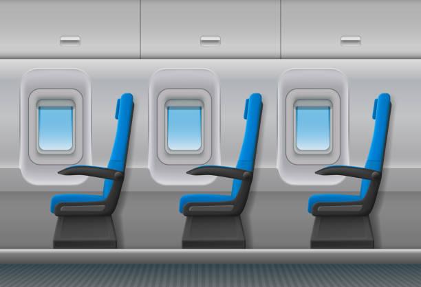 yolcu uçak vektör iç. uçak kabinlerin ve sandalye koltuk ile kapalı kabin. vektör çizim - airplane seat stock illustrations