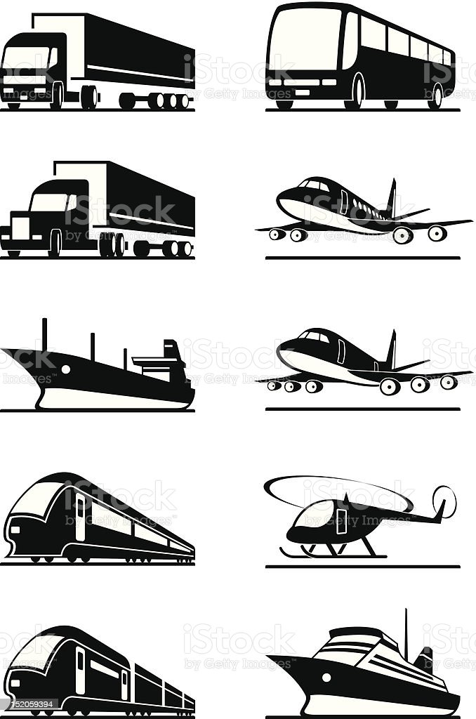 Passenger and cargo transportation vehicles royalty-free stock vector art