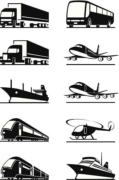 승객 및 화물 운송 차량에 - 기차 실루엣 stock illustrations