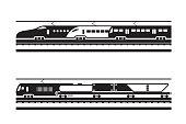 Passenger and freight railway transportation - vector illustration