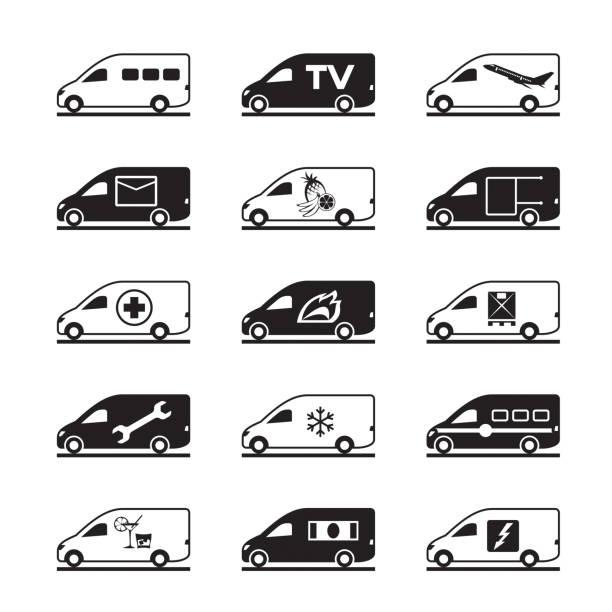 Passenger and freight vans and pickups Passenger and freight vans and pickups - vector illustration mini van stock illustrations