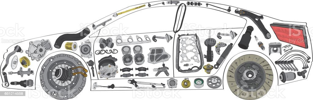 Passenger Car Painted And Built From A Variety Of Parts Stock Vector ...