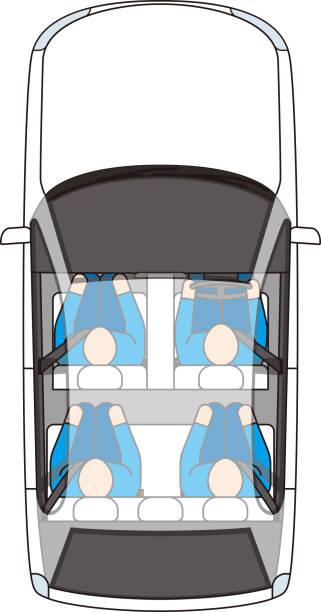 personenkraftwagen und insassen. ansicht von oben. vektormaterial. - fahrzeugsitz stock-grafiken, -clipart, -cartoons und -symbole