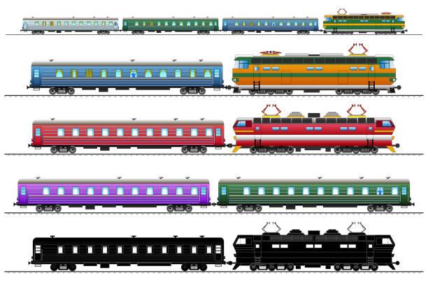 bildbanksillustrationer, clip art samt tecknat material och ikoner med personbilar, tåg vagnar set. isolerade - derail