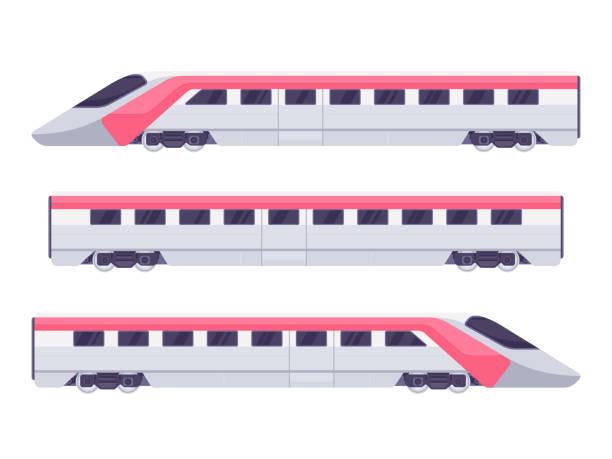 Passenger express train Passenger express train. Subway train. Vector illustration high speed train stock illustrations