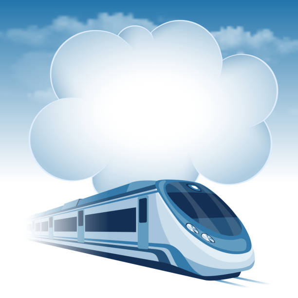 Passenger high speed train Passenger high speed train moving under the blue sky and white clouds. There is a place for your text. high speed train stock illustrations