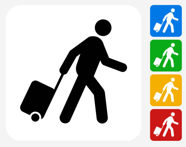 Passenger Icon Flat Graphic Design Passenger Icon. This 100% royalty free vector illustration features the main icon pictured in black inside a white square. The alternative color options in blue, green, yellow and red are on the right of the icon and are arranged in a vertical column. passenger stock illustrations