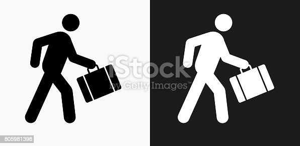 istock Passenger Icon on Black and White Vector Backgrounds 805981398