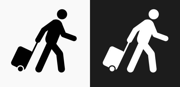 Passenger Icon on Black and White Vector Backgrounds Passenger Icon on Black and White Vector Backgrounds. This vector illustration includes two variations of the icon one in black on a light background on the left and another version in white on a dark background positioned on the right. The vector icon is simple yet elegant and can be used in a variety of ways including website or mobile application icon. This royalty free image is 100% vector based and all design elements can be scaled to any size. passenger stock illustrations
