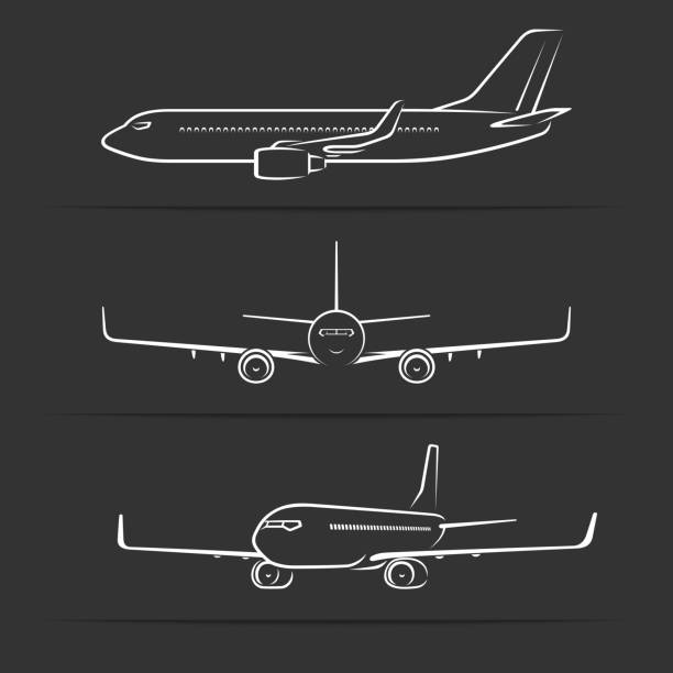 Passenger jet aircraft silhouettes, contours, outlines. Side, front, perspective view of modern airplane in flight Passenger jet aircraft silhouettes, contours, outlines. Side, front, perspective view of modern airplane in flight. Vector illustration airport silhouettes stock illustrations