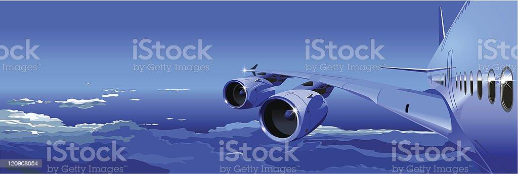 Passenger Jet in the Sky royalty-free stock vector art