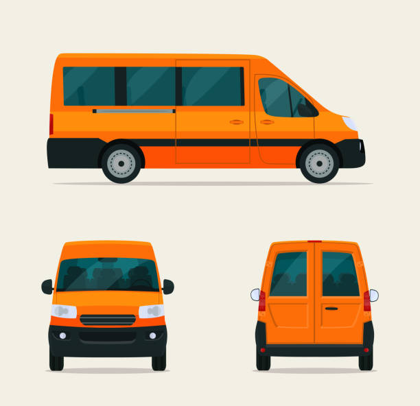 Passenger minivan isolated. Van with side view, back view and front view. Vector flat style illustration. vector art illustration