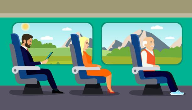 passagier alter mann, junge schöne mädchen und geschäftsmann charakter in stuhl im zug sitzen. flache vektorgrafik. - fahrzeugsitz stock-grafiken, -clipart, -cartoons und -symbole