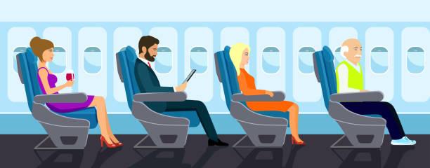 passagier-greis, schöne junge mädchen und geschäftsmann charakter in stuhl im flugzeug sitzen. flache vektorgrafik. - fahrzeugsitz stock-grafiken, -clipart, -cartoons und -symbole