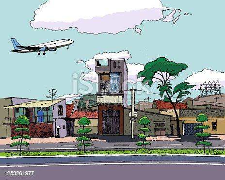 istock passenger plane flies over the city, schedule, sketch, east, full color 1253261977