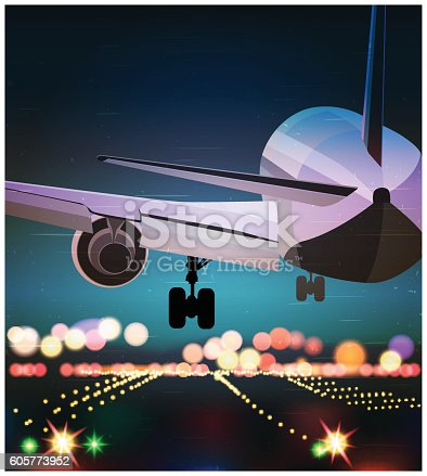 Stylized vector illustration on the theme of civil aviation. Big passenger airplane is landing at night