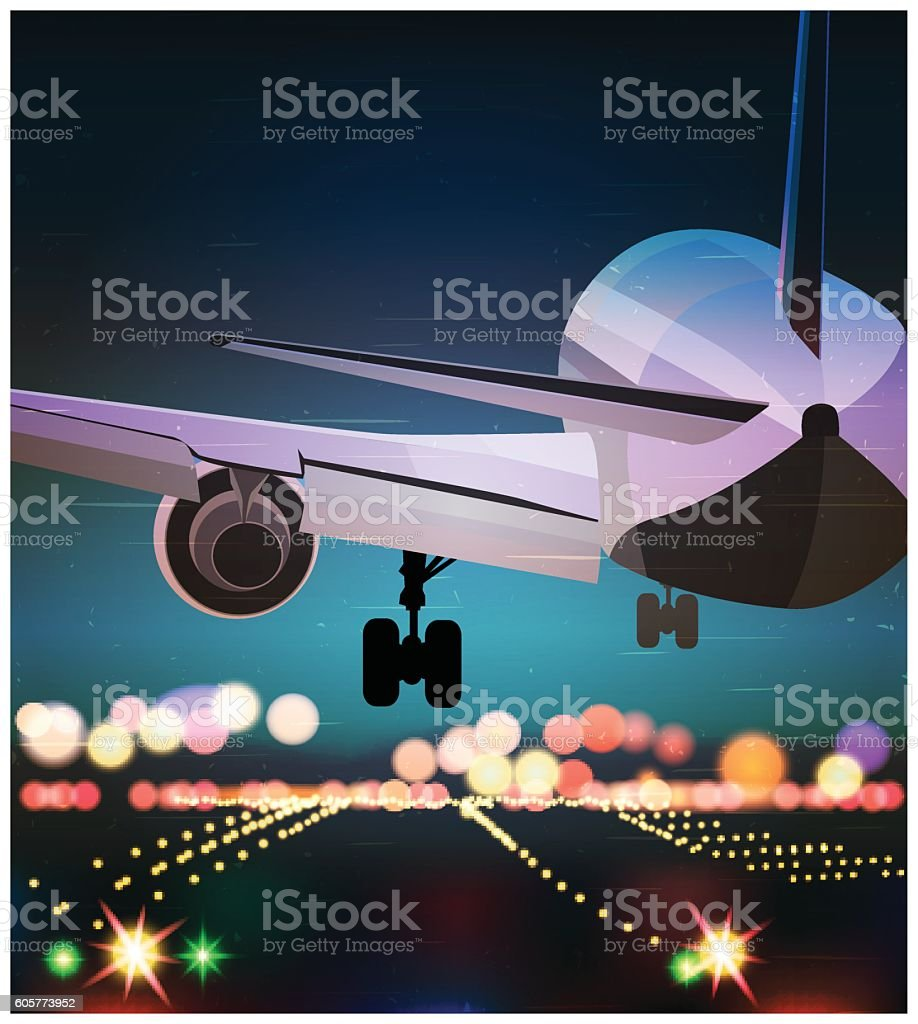 Passenger plane is landing old poster vector art illustration