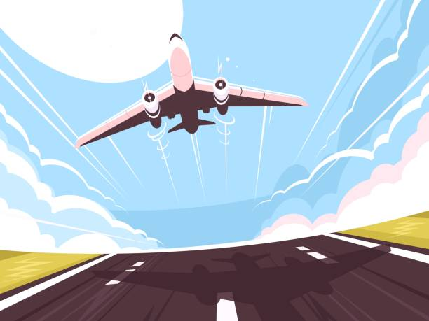 Passenger plane takes off from runway Passenger plane takes off from runway. Air transport, vector illustration airport backgrounds stock illustrations