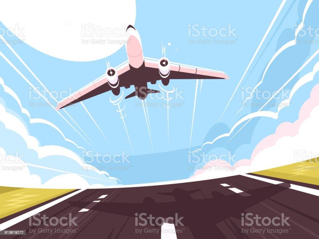 Passenger plane takes off from runway vector art illustration
