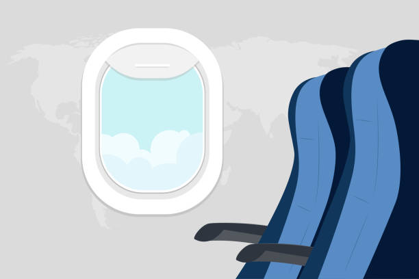 peyzaj ile yolcu koltukları ve porthole - airplane seat stock illustrations