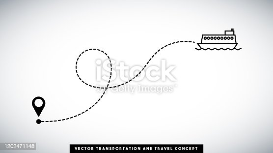 Passenger ship line path vector design. Transportation and travel concept. Horizontal composition with copy space.