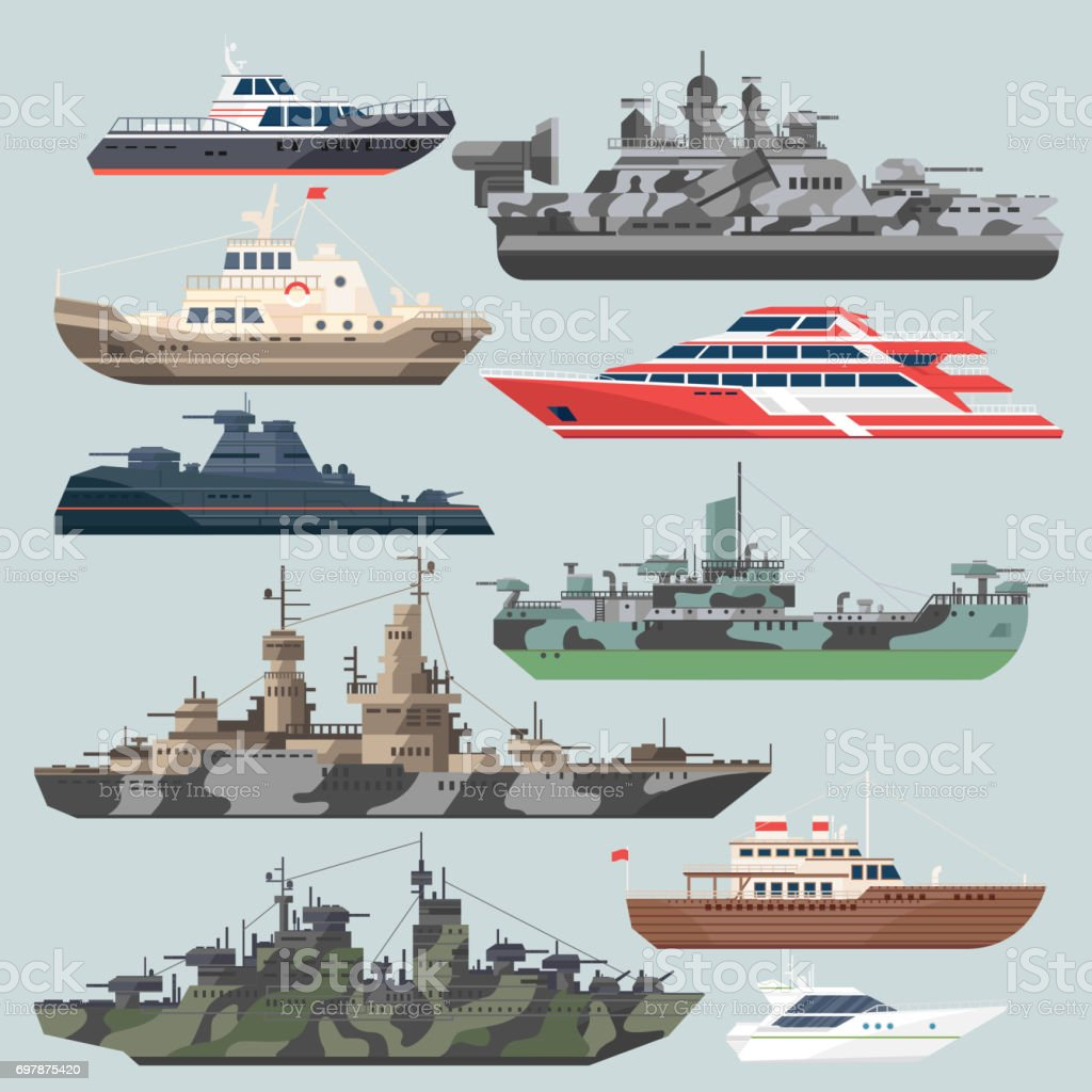 Passenger ships and battleships. Submarine destroyer in the sea. Water boats vector illustrations in flat style vector art illustration