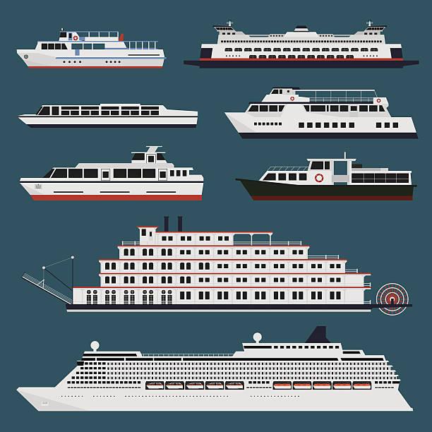 stockillustraties, clipart, cartoons en iconen met passenger ships infographic - veerboot