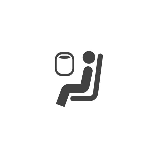 ilustraciones, imágenes clip art, dibujos animados e iconos de stock de el pasajero se sienta en un símbolo de avión - comfortable