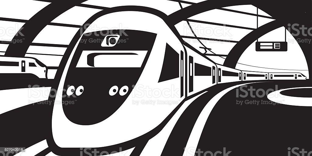 Passenger train approaching railway station vector art illustration