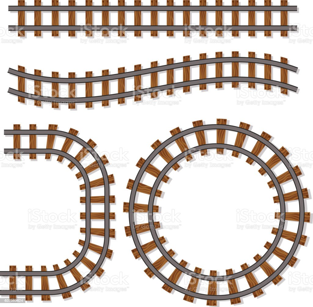 Passenger train vector rail tracks brush, railway line – Vektorgrafik