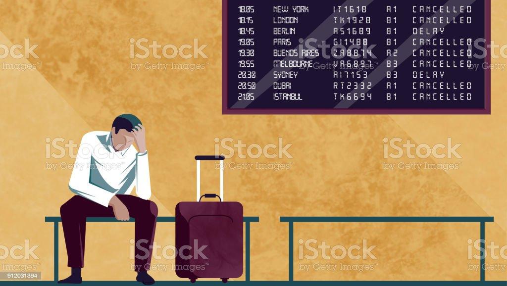Passenger waiting for the plane, boarding, delays vector art illustration