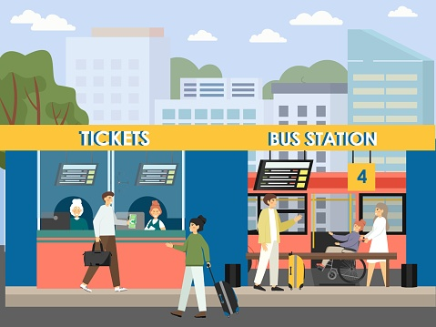 Passengers buying tickets at bus station, flat vector illustration. Intercity bus stop terminal with tourists