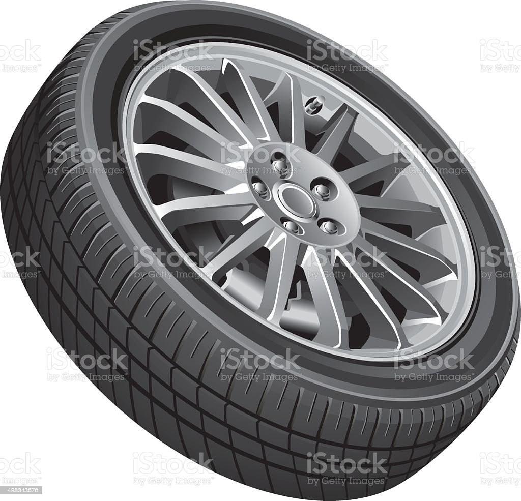 Passenger's car's wheel vector art illustration