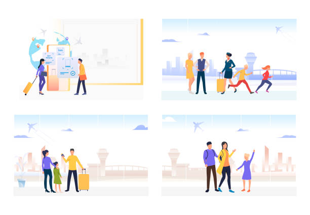 Passengers in airport set Passengers in airport set. Family tourists holding luggage and boarding passes. Flat vector illustrations. Vacation, trip, flight concept for banner, website design or landing web page airport backgrounds stock illustrations