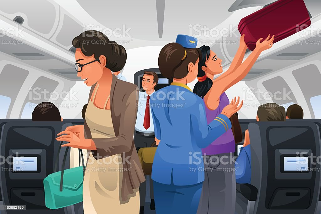 Passengers Lifting Their Carry-on Luggage vector art illustration
